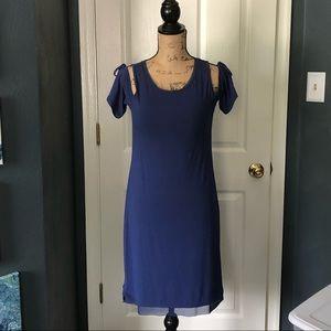 white house black market cold shoulder dress